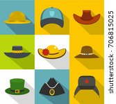 traditional hat icon set. flat... | Shutterstock .eps vector #706815025