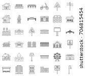 urban icons set. outline style...   Shutterstock .eps vector #706815454