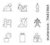 industry icons set. outline set ... | Shutterstock .eps vector #706815865