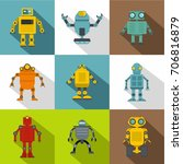 cyborg icon set. flat style set ... | Shutterstock .eps vector #706816879