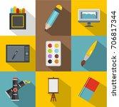 art instrument icon set. flat...   Shutterstock .eps vector #706817344