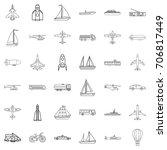 transport icons set. outline... | Shutterstock .eps vector #706817449