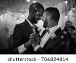 newlywed gay couple dancing on... | Shutterstock . vector #706824814