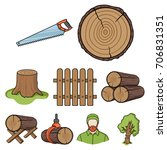 sawmil and timber set icons in...   Shutterstock .eps vector #706831351