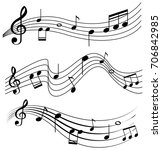 seamless design with music... | Shutterstock .eps vector #706842985