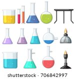 different types of beakers and...   Shutterstock .eps vector #706842997