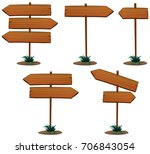 wooden sign template with pole... | Shutterstock .eps vector #706843054