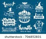 happy halloween vector vintage...   Shutterstock .eps vector #706852831