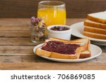 toast bread with homemade... | Shutterstock . vector #706869085