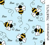 bee pattern background .... | Shutterstock . vector #706876711