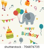 colorful birthday party... | Shutterstock . vector #706876735