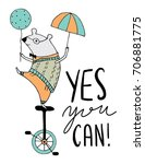yes you can inspiration kid... | Shutterstock .eps vector #706881775