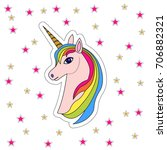 pink unicorn head with rainbow... | Shutterstock . vector #706882321