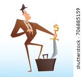vector cartoon image of a funny ... | Shutterstock .eps vector #706885159