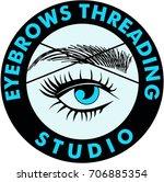 threading eyebrows salon logo | Shutterstock .eps vector #706885354
