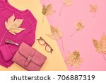 autumn arrives. fashion lady... | Shutterstock . vector #706887319