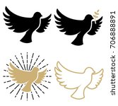 Set Of Dove Icons. Pigeon With...