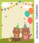 cute mother and baby bears... | Shutterstock .eps vector #706890481