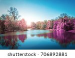Purple Autumn Forest  In Blue...