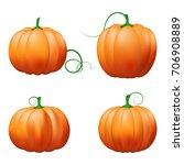 pumpkin icon set. vector... | Shutterstock .eps vector #706908889