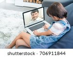 high angle view of little girl  ... | Shutterstock . vector #706911844