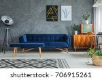 dark blue comfy couch with... | Shutterstock . vector #706915261
