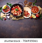 concept of mexican food.  salsa ... | Shutterstock . vector #706935061