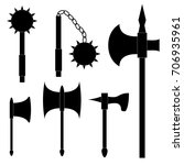 set of medieval weapons. axe ... | Shutterstock .eps vector #706935961