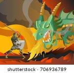 fantasy knight fighting a green ... | Shutterstock .eps vector #706936789