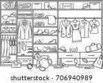 doodle family wardrobe mess... | Shutterstock .eps vector #706940989