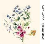 graceful flowers  the leaves... | Shutterstock . vector #706942291