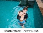 the kid and mom play together...   Shutterstock . vector #706943755