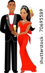 Raster version Illustration. A beautiful Valentine Couple 1. - stock photo