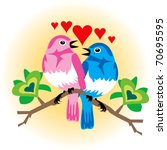 Raster version Illustration of 2 love birds with hearts. - stock photo
