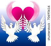Raster version Illustration of Love Doves with flying heart. - stock photo