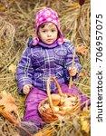 little girl in the autumn... | Shutterstock . vector #706957075