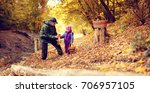 grandfather and granddaughter... | Shutterstock . vector #706957105