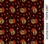 khokhloma seamless pattern with ... | Shutterstock .eps vector #706961887