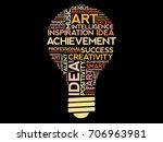 achievement bulb word cloud... | Shutterstock .eps vector #706963981