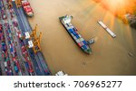 container ship in import export ... | Shutterstock . vector #706965277