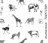 seamless pattern of hand drawn...   Shutterstock .eps vector #706971589
