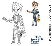 cute boy in skeleton costume... | Shutterstock .eps vector #706973335
