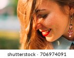 beautiful girl with long red... | Shutterstock . vector #706974091