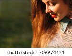 closeup portrait of a pretty...   Shutterstock . vector #706974121