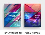 placards with abstract shapes ...   Shutterstock .eps vector #706975981