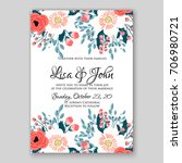 wedding invitation autumn... | Shutterstock .eps vector #706980721