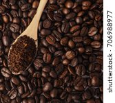 coffee beans background | Shutterstock . vector #706988977