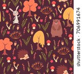 seamless pattern of forest with ... | Shutterstock .eps vector #706991674