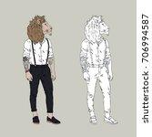 lion hipster  furry art... | Shutterstock .eps vector #706994587
