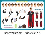 set of super businessman... | Shutterstock .eps vector #706995154